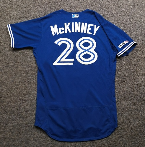 Photo of Authenticated Game Used Jersey: #28 Billy McKinney (Mar 30, 19 vs DET: 1-for-3 with 1 RBI and 1 BB). Size 44