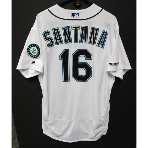 Photo of Domingo Santana Game White Used Jersey - 7-2-2019 - Size 48