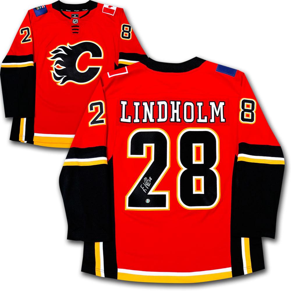 Elias Lindholm Autographed Calgary Flames Fanatics Jersey