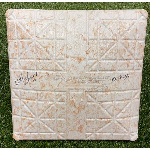Minnesota Twins: Game-Used Base - Twins at Tigers 8/31/19 - Game-used 2nd Base - Innings 6-9 - On Field for MLB Record 268th Team Home Run - Autographed By Mitch Garver