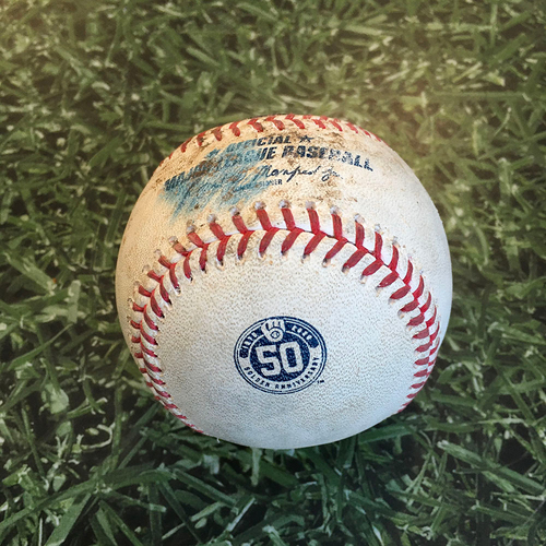Photo of Game-Used Baseball CHW@MIL 08/04/20 - Brandon Woodruff - Zack Collins: Strikeout