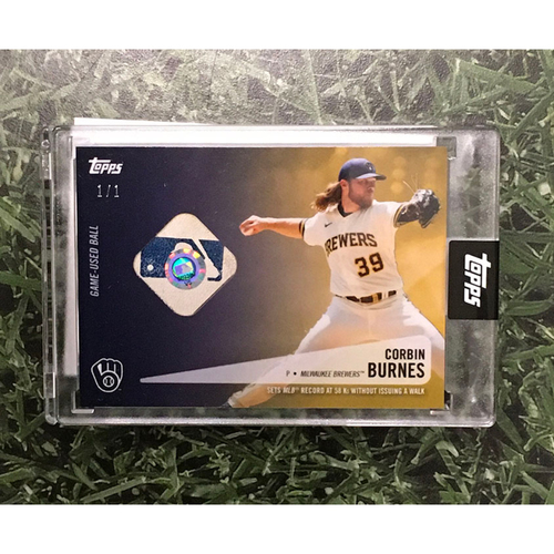 Photo of Corbin Burnes Topps Relic Card - Limited Edition #1 / 1 - Commemorating 2021 MLB Record Striking out 58 Batters to Start Season Without Issuing a Walk (Features Game-Used Baseball from Record Setting Game on 05/13/21)