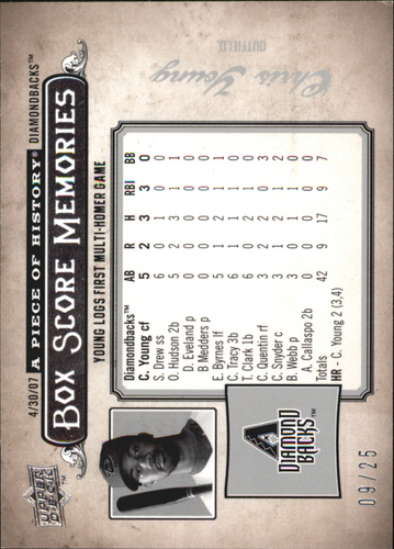 Photo of 2008 UD A Piece of History Box Score Memories Silver #BSM1 Chris B. Young
