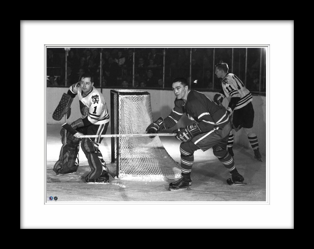 HHOF 20x28 Framed Photo Hall vs Armstrong - Leafs vs Blackhawks