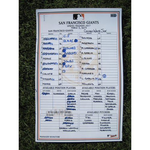 San Francisco Giants - Game Used Lineup Card - Spring Training - March 2nd, 2017 vs White Sox