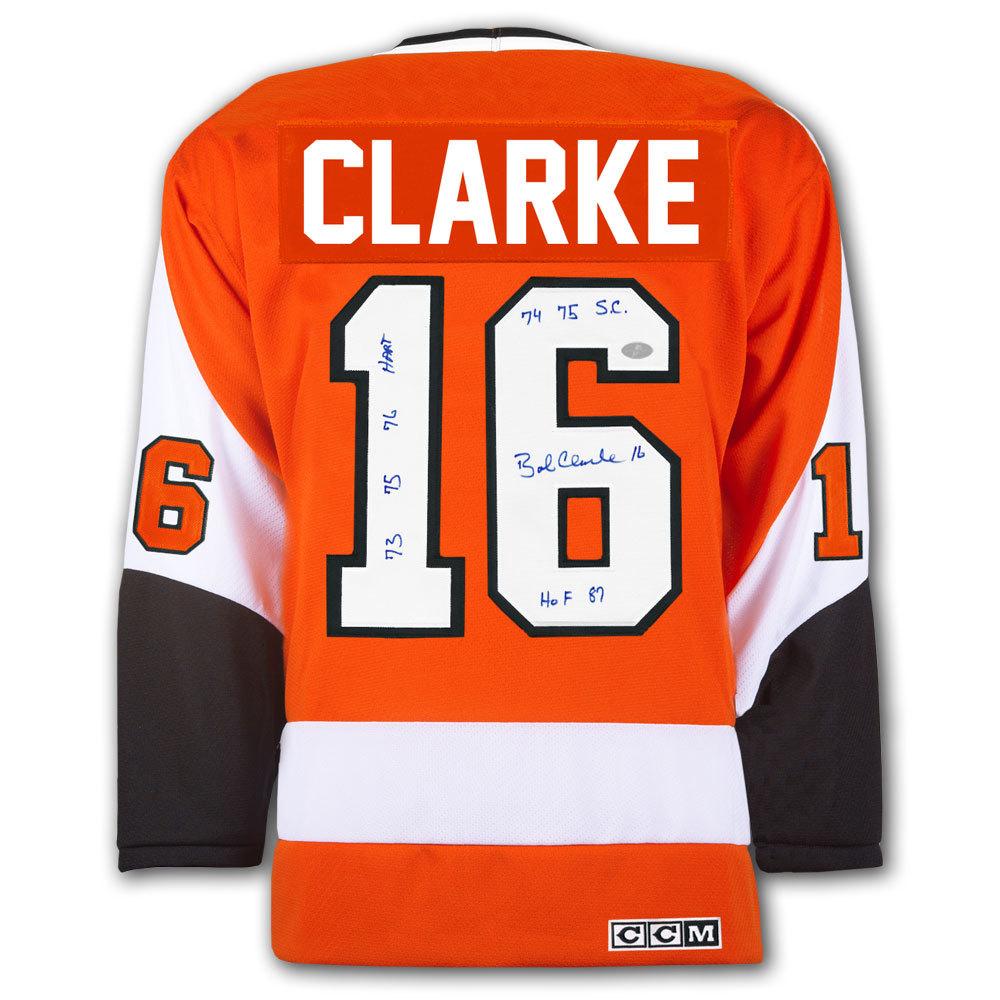 Bobby Clarke Philadelphia Flyers STATS CCM Autographed Jersey