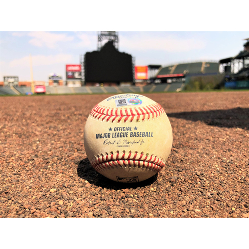 Photo of Colorado Rockies Game-Used Baseball - McGee v. Szczur - Double - 4-23-18