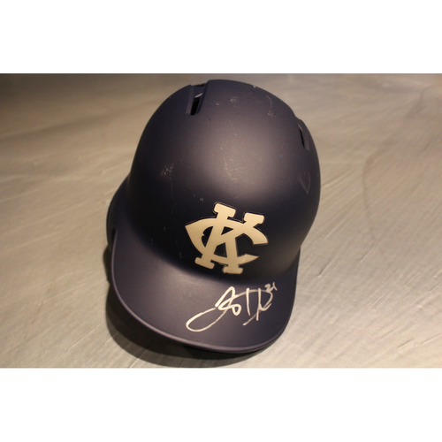 Photo of Game-Used & Autographed Batting Helmet: Lucas Duda (DET at KC - 5/6/18)