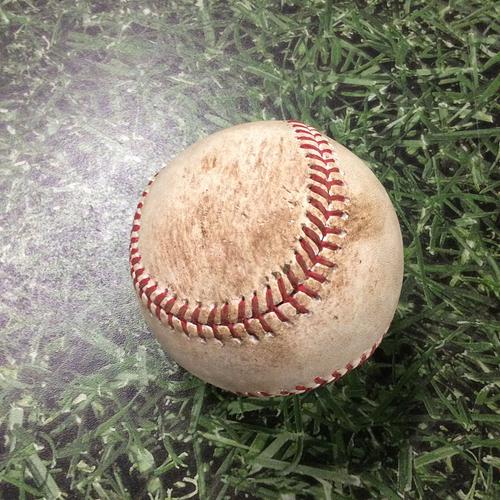 Photo of Game-Used Baseball PHI@MIL 08/15/15 - Jimmy Nelson - Odubel Herrera: Double