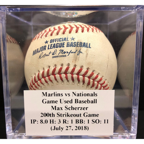 Photo of Game-Used Baseball: Marlins vs Nationals - Max Scherzer 200th Strikeout Game IP - 8.0 H - 3 R - 1 BB - 1 SO - 11 (July 27, 2018)