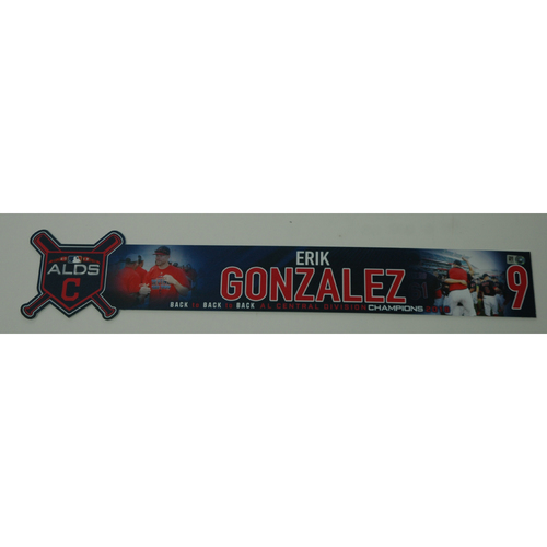 Photo of Erik Gonzalez Team-Issued 2018 ALDS Locker Name Plate - Game 3 - 10/8/18