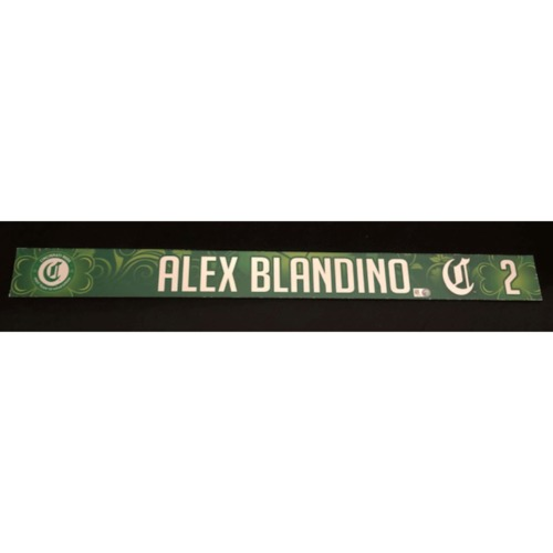 Photo of Alex Blandino -- Team-Issued Locker Name Plate -- 2019 St. Patrick's Day
