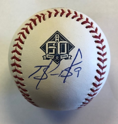 Photo of Brandon Belt Autographed 60th Anniversary Baseball