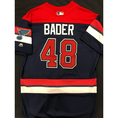 Photo of Harrison Bader Team Issued 2019 St. Louis Blues Themed Cardinals Jersey (Size 46)