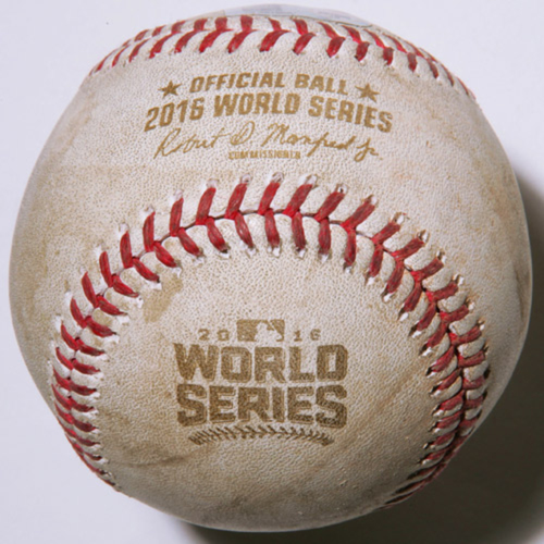 Photo of Game-Used Baseball - 2016 World Series - Cleveland Indians at Chicago Cubs - Batter - Javier Baez, Pitcher - Cody Allen, Bottom of 8, Strikeout - Game 5 - 10/30/2016