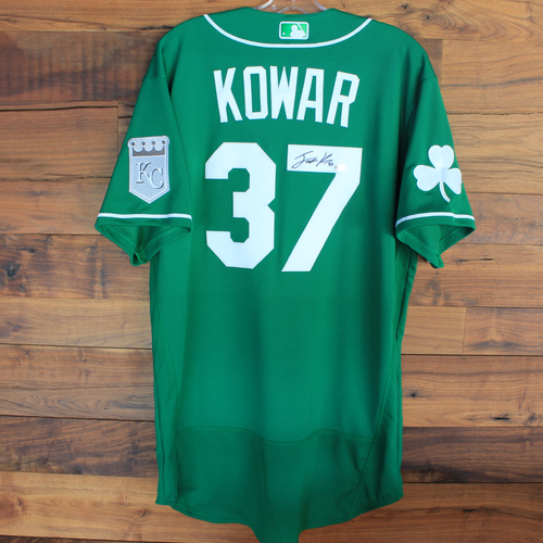 Photo of Autographed 2020 St. Patrick's Day Jersey: Jackson Kowar #37 - Size 46