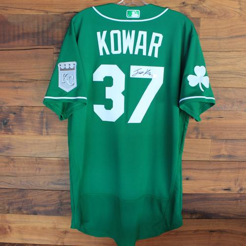 Photo of Autographed 2020 St. Patrick's Day Jersey: Jackson Kowar #37 - Size 46