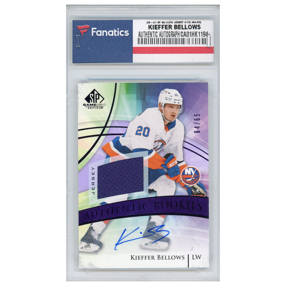 Kiefer Bellows New York Islanders Autographed 2020-21 Upper Deck SP Game-Used Auto Jersey Parallel #172 Card - LE#64 of 65
