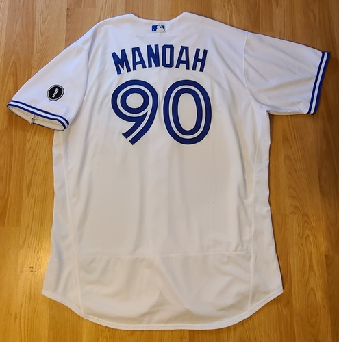 Photo of Authenticated Team Issued Jersey: #90 Alek Manoah (2020 Season). Size 54.