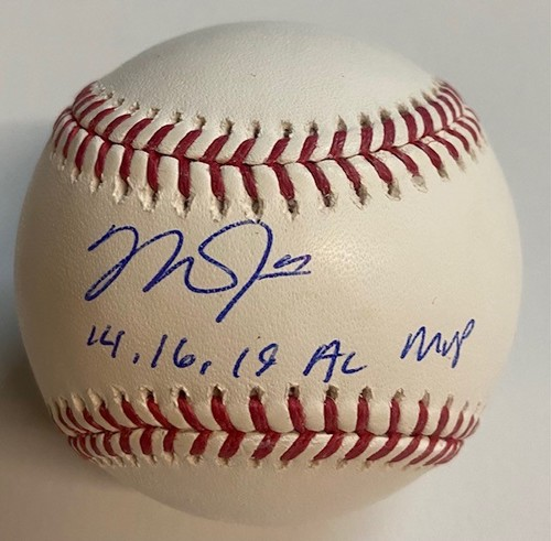 "Photo of Mike Trout Autographed ""14,16,19 AL MVP"" Baseball"