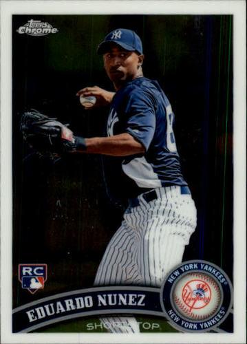 Photo of 2011 Topps Chrome #198 Eduardo Nunez Rookie Card -- Red Sox post-season