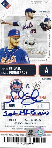 "Photo of Noah Syndergaard ""1st MLB Win"" Autographed Game Ticket"