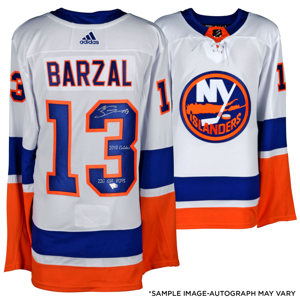 Mathew Barzal New York Islanders Autographed White Adidas Authentic Jersey with Multiple Inscriptions - #1 of a L. E. of 13