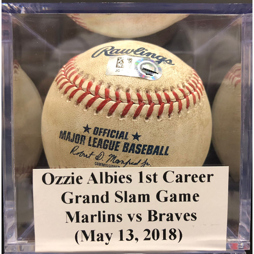 Photo of Game-Used Baseball: Ozzie Albies 1st Career Grand Slam Game, Marlins vs Braves (May 13, 2018)
