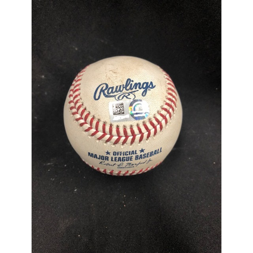 Photo of Christian Yelich Hits for Cycle -- Game-Used Baseball -- 1st Inning -- Peralta to Peraza (Foul Ball) -- Yelich Goes 6-for-6, Hits for the 8th Cycle in Brewers History -- 08/29/2018 -- MIL vs. CIN