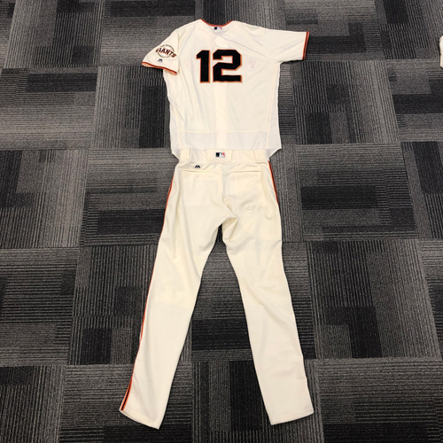 Photo of San Francisco Giants - 2017 Game Used Home Jersey and Team Issued Pants worn by #12 Joe Panik - jersey worn 9/12, 9/17, 9/20, 10/1 -  Jersey Size: 48 - Pant Size: 36-39-36
