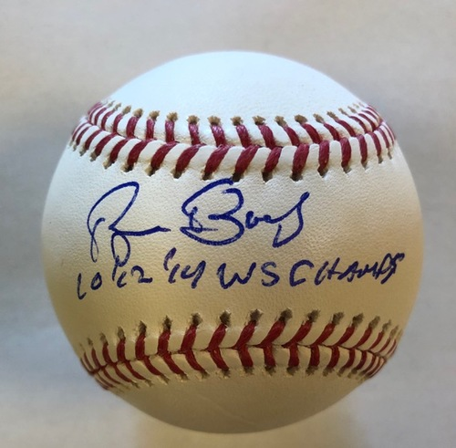 "Photo of Bruce Bochy Autographed ""10,12,14 WS Champs"" Baseball"