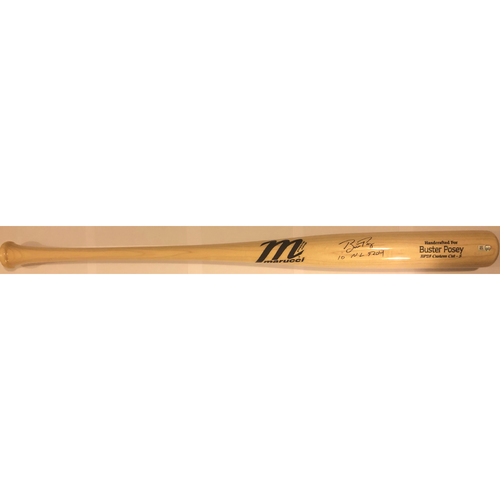 "Photo of Buster Posey Autographed ""10 NL ROY"" Game Model Marucci Bat"