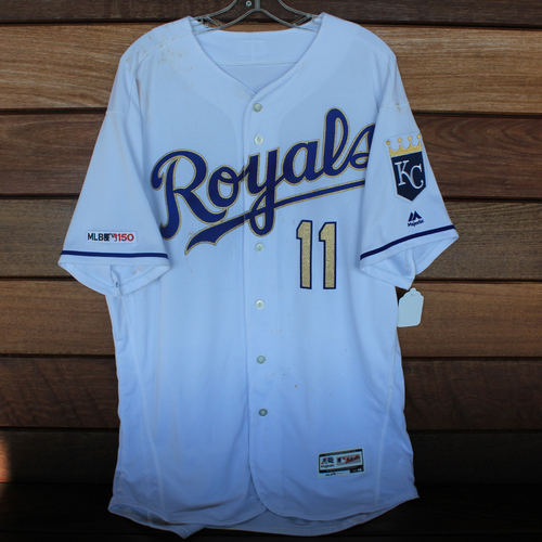 Photo of Game-Used Jersey: Bubba Starling 5th Career Double and 35th Career Hit (Size 48 - HOU @ KC - 9/13/19)