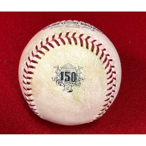 Photo of Game-Used Baseball -- 05/04/2019 - SF vs. CIN - 1st inning - Rodriguez to Votto (Line out); to Suarez (Strikeout); to Winker (Double); to Puig (Single) *Senzel First HR Game*