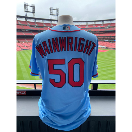 Photo of Cardinals Authentics: Team Issued Adam Wainwright Road Blue Alternate Jersey