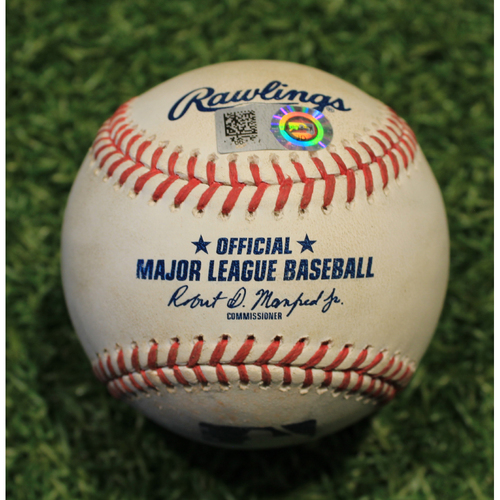 Photo of Game-Used Baseball: Carlos Santana 1309th Career Hit (CLE @ KC 8/31/20)