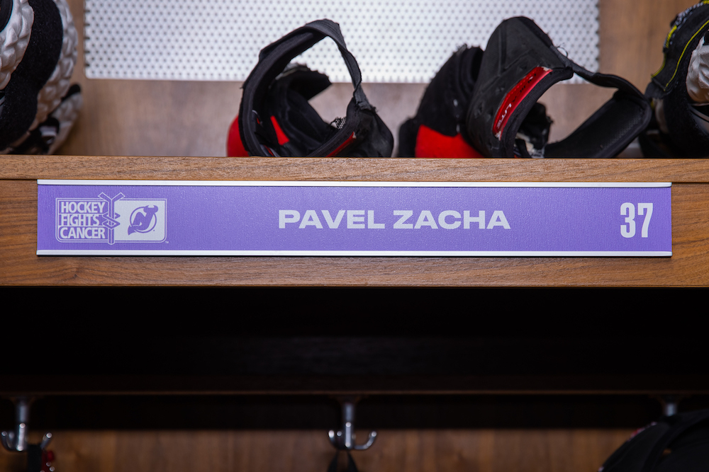 Pavel Zacha Autographed 2020-21 Hockey Fights Cancer Locker Room Nameplate - New Jersey Devils