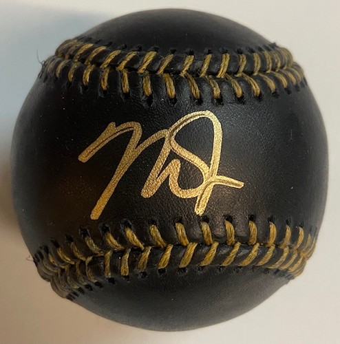 Photo of Mike Trout Autographed Black Baseball