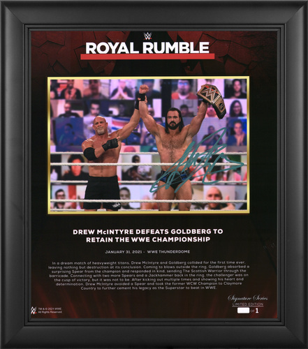 Photo of Drew McIntyre SIGNED Royal Rumble 2021 Signature Series Plaque (#1 of 1)