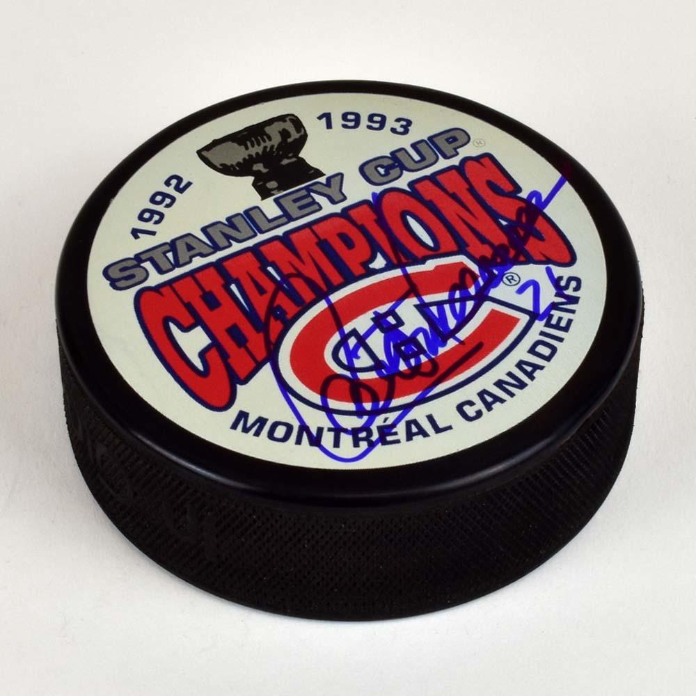 Guy Carbonneau Montreal Canadiens Autographed 1993 Stanley Cup Puck