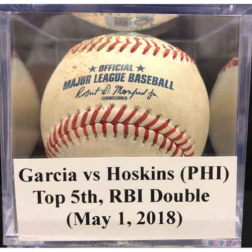 Photo of Game-Used Baseball: Garcia vs Hoskins (PHI), Top 5th, RBI Double (May 1, 2018)