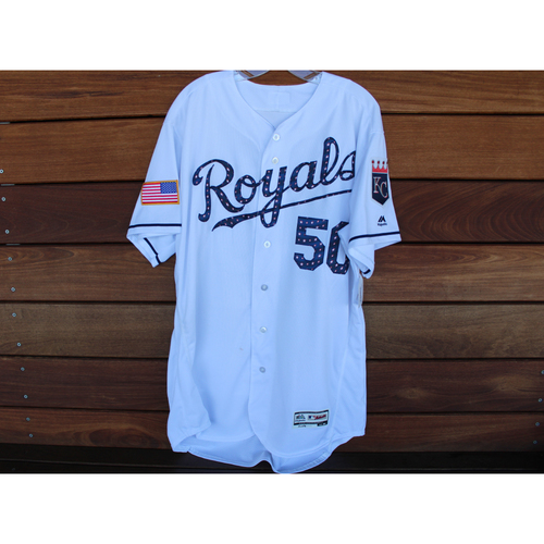 Photo of Game-Used Stars and Stripes Jersey: Jason Adam (Size 50 - CLE @ KC - 7/4/18)