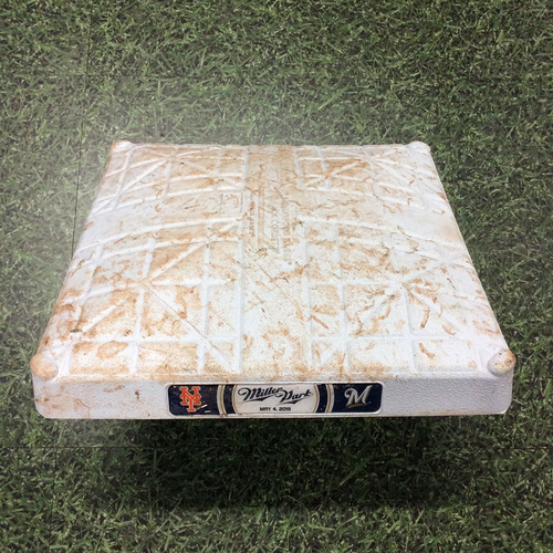 Photo of Game-Used 3rd Base (INN 1-18) NYM@MIL 05/04/19 - Longest Game (By Innings) in Miller Park History; Ryan Braun Walk-Off 2-Run Single (First Career 6-Hit Game)