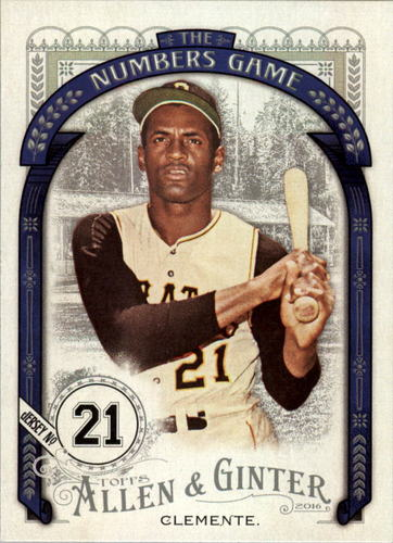 Photo of 2016 Topps Allen and Ginter The Numbers Game #NG60 Roberto Clemente