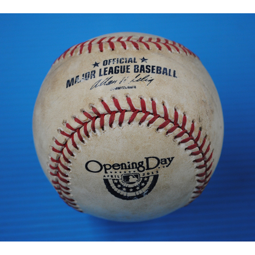 Photo of Game-Used Opening Day Baseball - Yankees @ Tigers - Batter - Kevin Youkilis, Pitcher - Doug Fister - Top of 5th, Pitch in the Dirt - 4/5/13