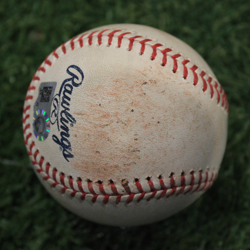 Photo of Game-Used 50 Seasons Baseball: Lively Strikeout (9/30/18 CLE @ KC)