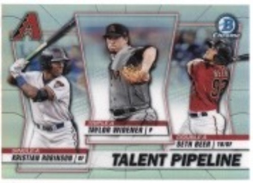 Photo of 2020 Bowman Chrome Talent Pipeline #TPARI Kristian Robinson/Taylor Widener/Seth Beer