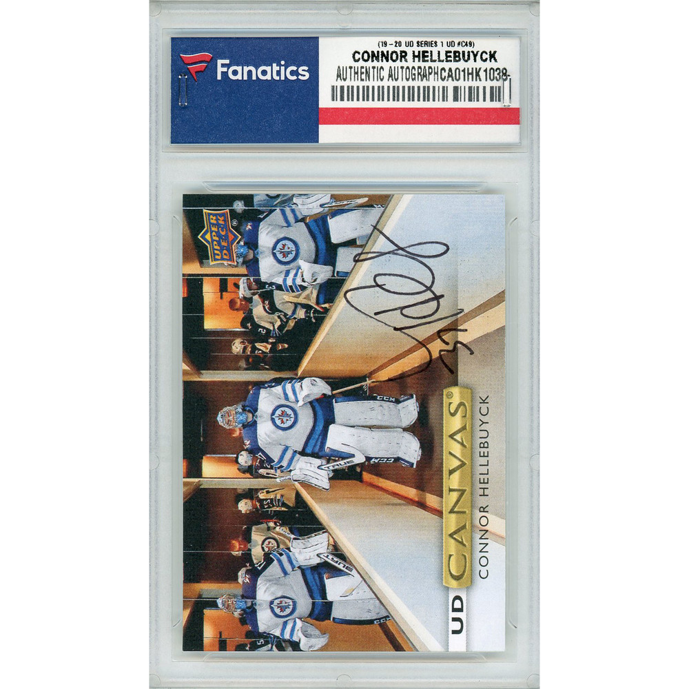 Connor Hellebuyck Winnipeg Jets Autographed 2019-20 Upper Deck Series One UD Canvas #C49 Card