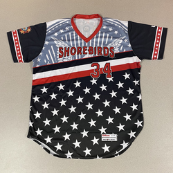 Photo of Patriotic Game Worn Autographed Jersey #34 Size 48 Carlos Tavera