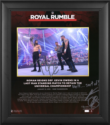 Photo of Roman Reigns and Kevin Owens SIGNED Royal Rumble 2021 Signature Series Plaque (#1 of 1)